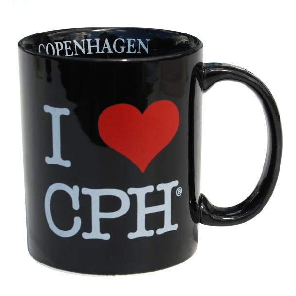 Krus I Love CPH Sort Stor