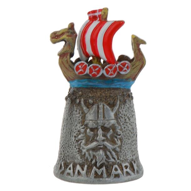 Fingerbøl Vikingeskib Tin Håndmalet