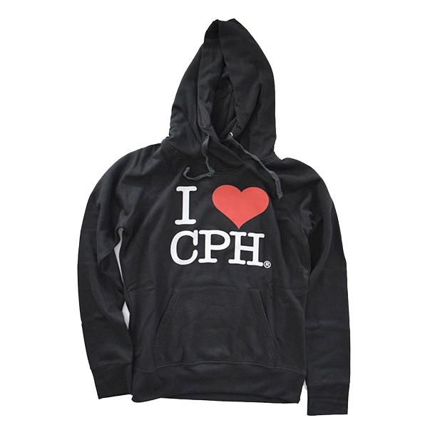 Hoodie I Love CPH Sort Voksen