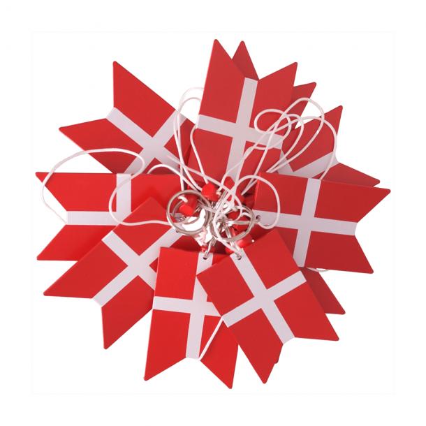 Danske Flag På Snor 15 Styks Træ Mellem