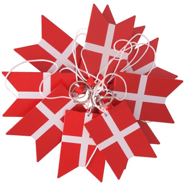 Danske Flag På Snor 10 Styks Træ Stor