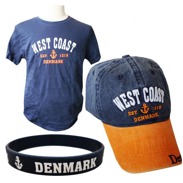 Sæt Med Kasket, T-shirt Og Armbånd West Coast Orange Navy