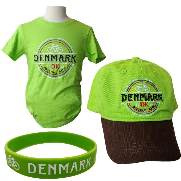 Sæt Med Kasket, T-shirt Og Armbånd Cykel Grøn