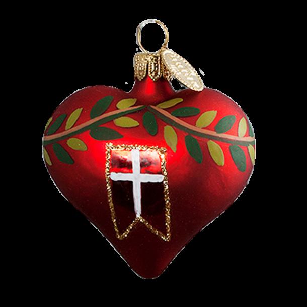 Julekugle Flag Hjerte 3 Cm
