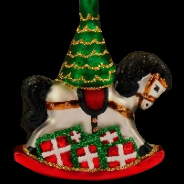 Julekugle Gyngehest Og Træ 7 Cm