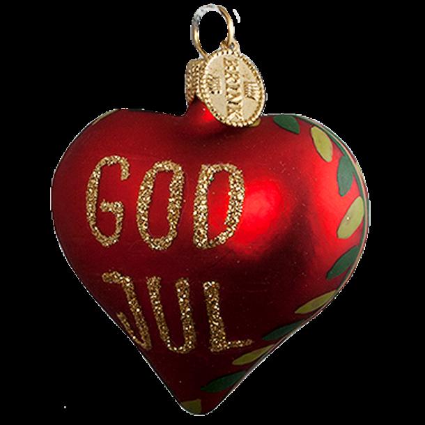 Julekugle God Jul Hjerte 5 Cm