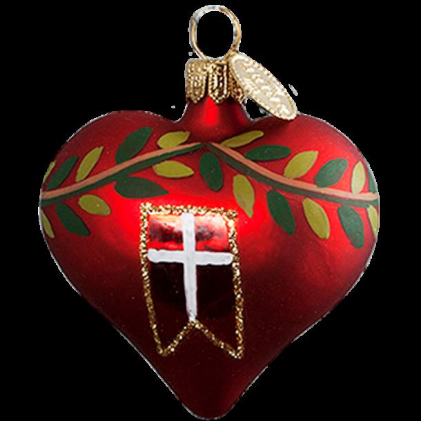 Julekugle Flag Hjerte 5 Cm