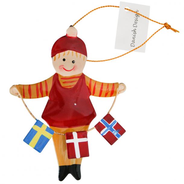 Juleophæng Nissedreng Norge Danmark Sverige Flag