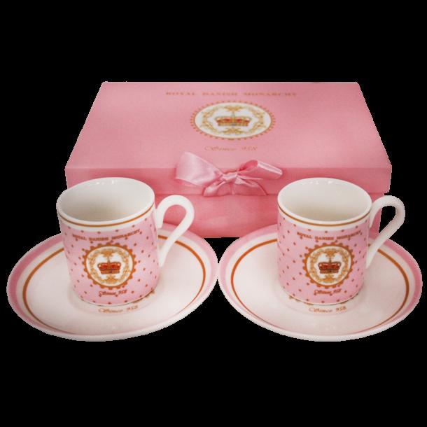 Espressokopper Og Tallerkener I Gaveæske Royal Danish Monarchy Pink