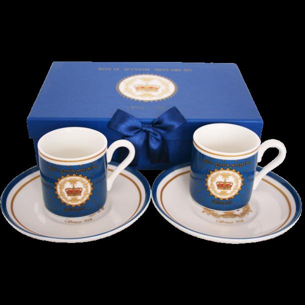 Espressokopper Og Tallerkener I Gaveæske Royal Danish Monarchy Kongeblå