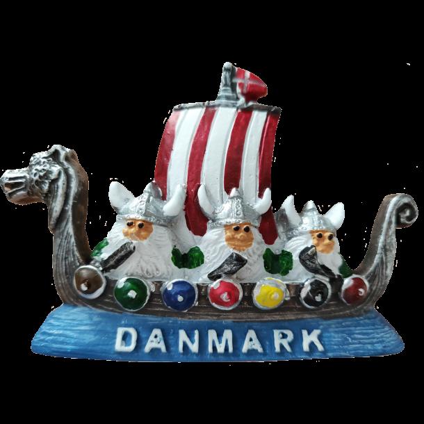 Magnet Vikingeskib Med Horn Gips