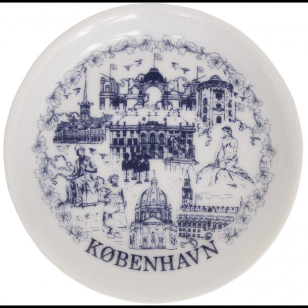 Porcelæns Magnet Platte Rød/Blå Tegninger