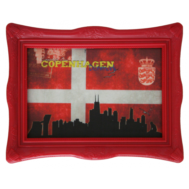 Magnet Med Ramme Flag Skyline