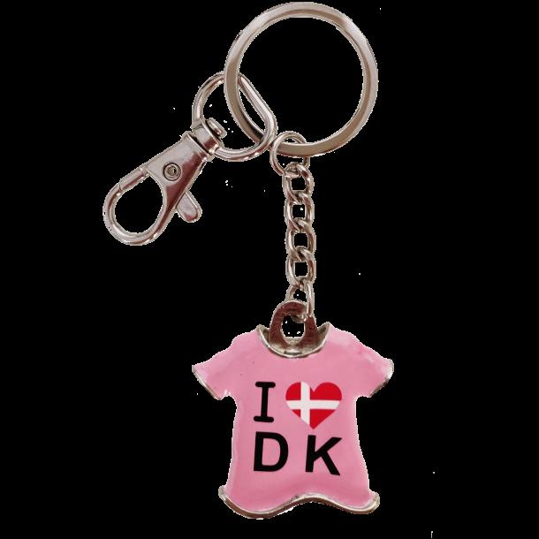 Nøglering T-shirt I Love Denmark Pink
