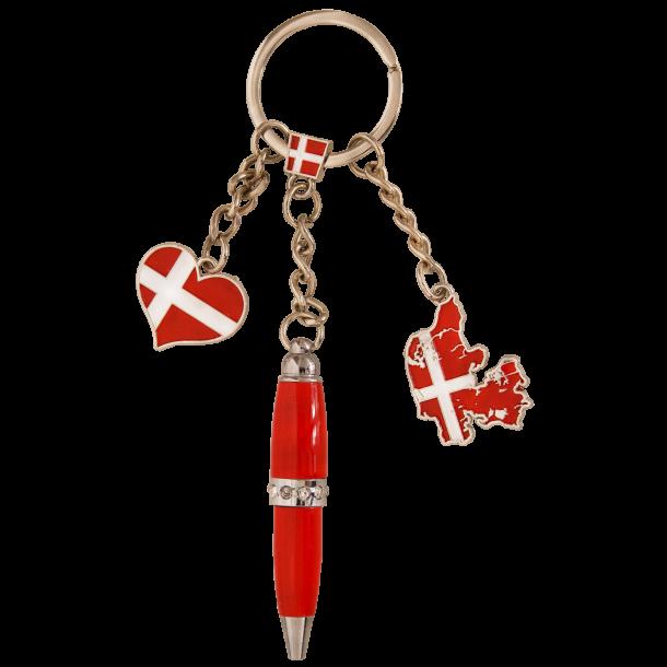 Nøglering Danmarkskort Hjerte Kuglepen