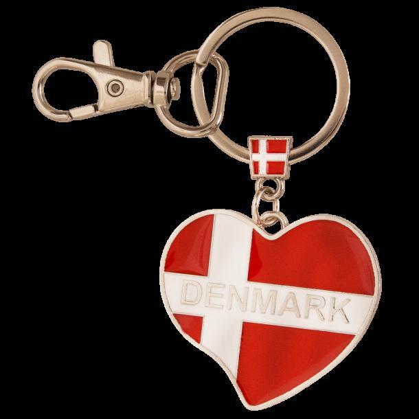 Nøglering Hjerteformet Flag Denmark