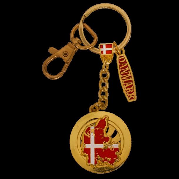 Nøglering Danmarkskort Spinner
