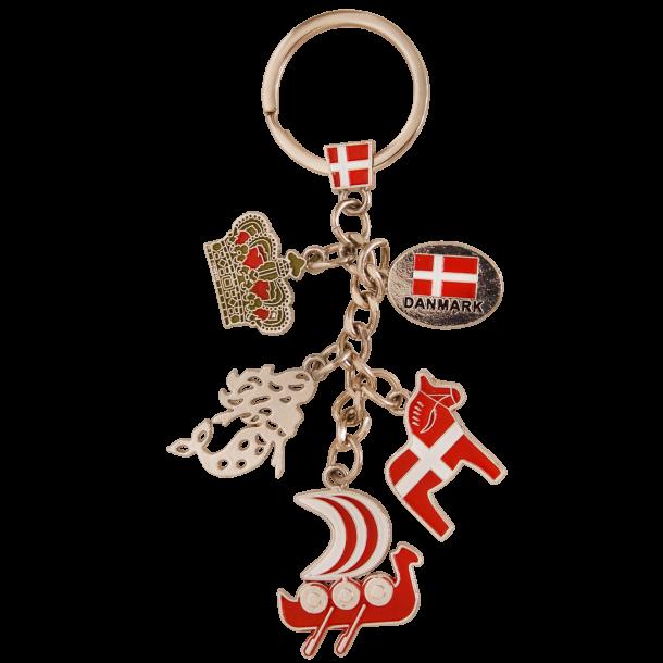 Nøglering Vikingskib Hest Havfrue Flag Og Krone