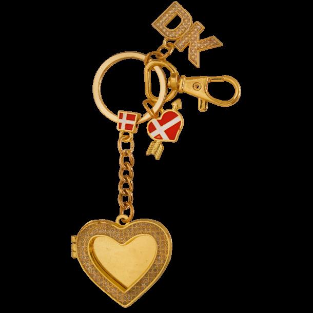 Nøglering Hjerteformet Billederamme Guld