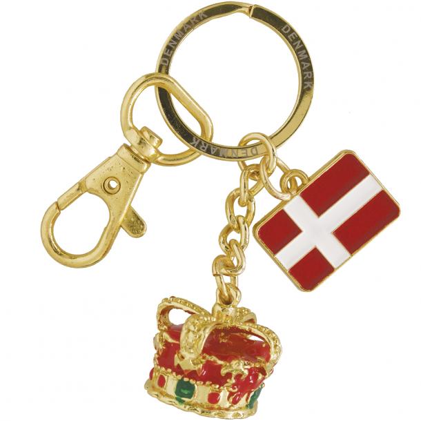 Nøglering Krone Og Flag Guld