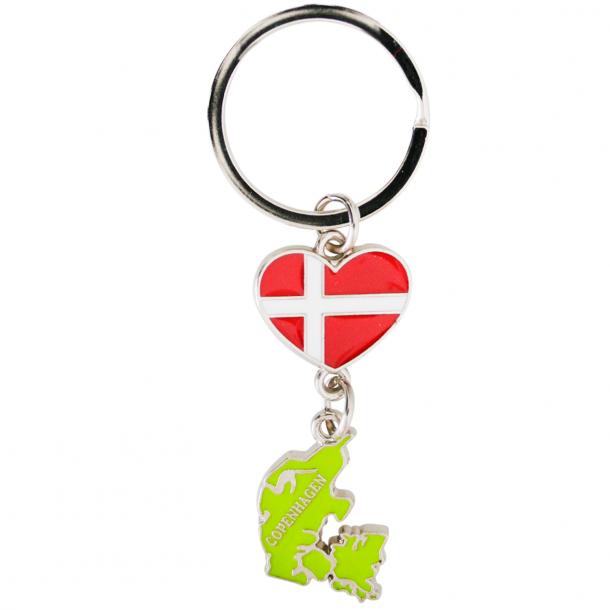 Nøglering Danmark Hjerte Flag