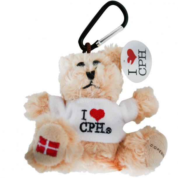 Nøglering Plys I Love CPH Hvid