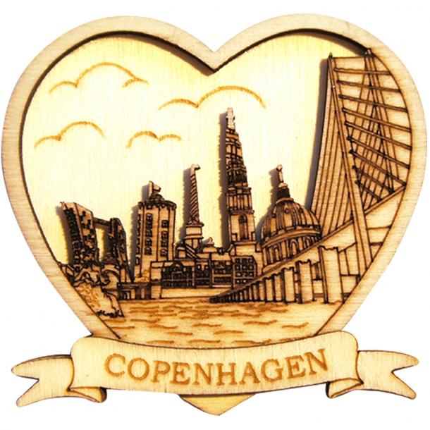 Magnet Copenhagen Skyline Hjerte Træ