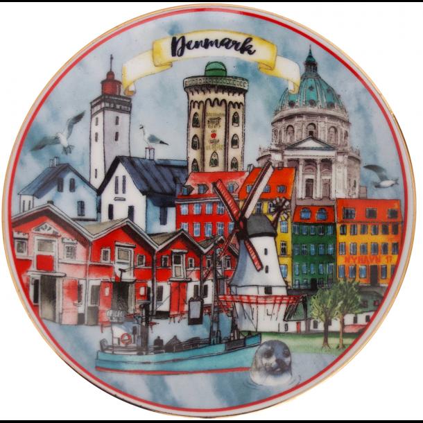 Platte Danmark Bygninger I Farver 20 cm.