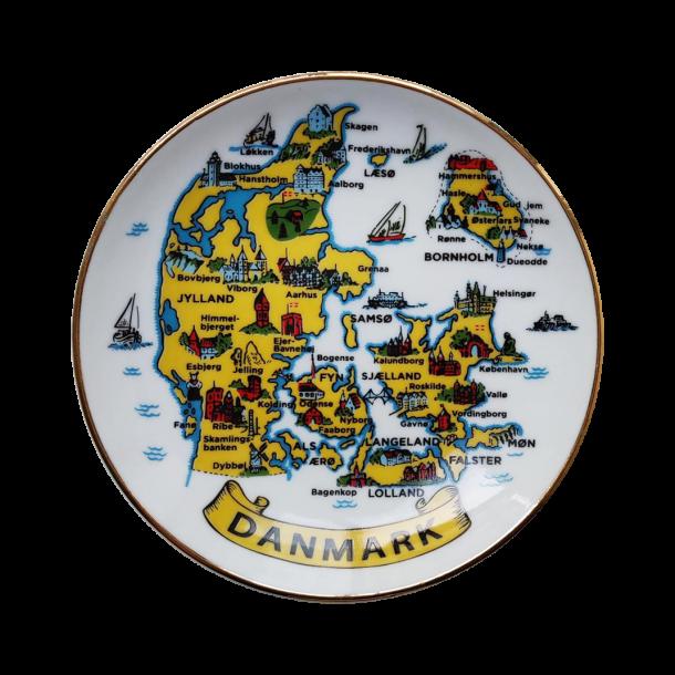 Platte Danmarkskort Med Guldkant I Æske 11 cm