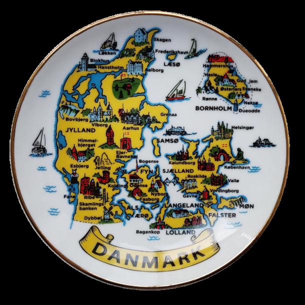 Platte Danmarkskort Med Guldkant I Æske 20 cm