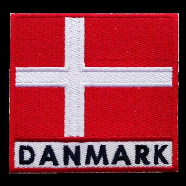 Stofmærke Dannebrog Tekst Danmark Stor