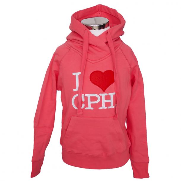 Hoodie I Love CPH Pink Barn