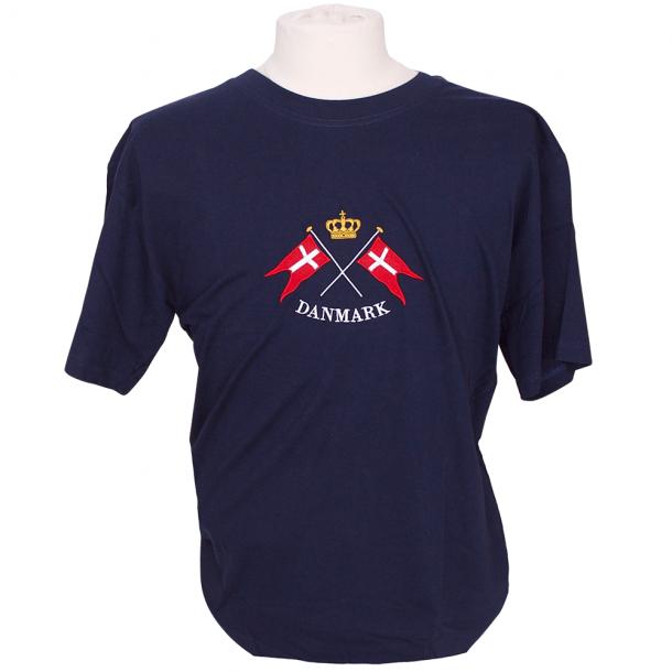 T-shirt Flag Og Krone Broderet